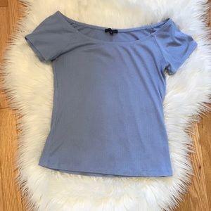 Dynamite Off Shoulder Blue T Shirt